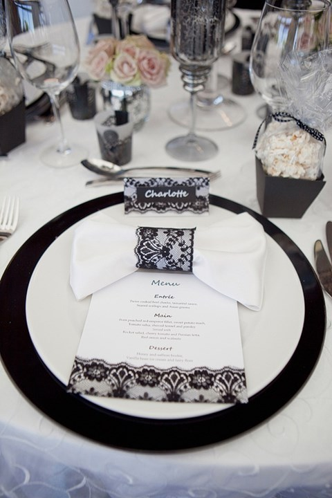 by Mia & 58 Elegant Black And White Wedding Table Settings | HappyWedd.com