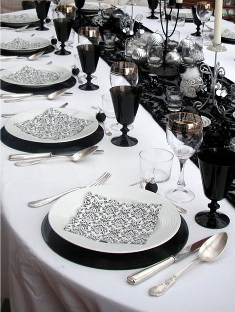 58 elegant black and white wedding table settings - Idee deco table noir et blanc ...