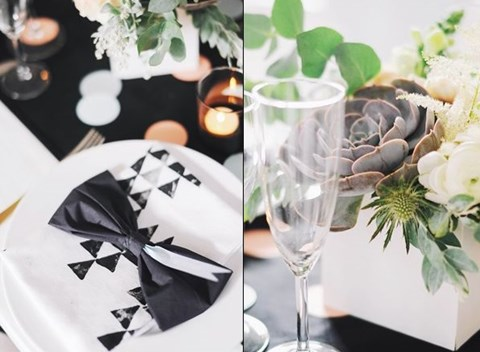 58 Elegant Black And White Wedding Table Settings HappyWedd Com : elegant black and white table settings - pezcame.com