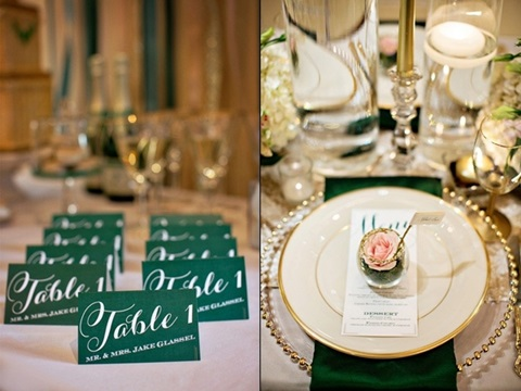emerald and gold wedding ideas 08