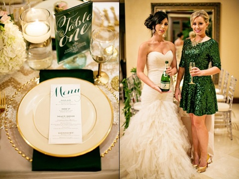 emerald and gold wedding ideas 13