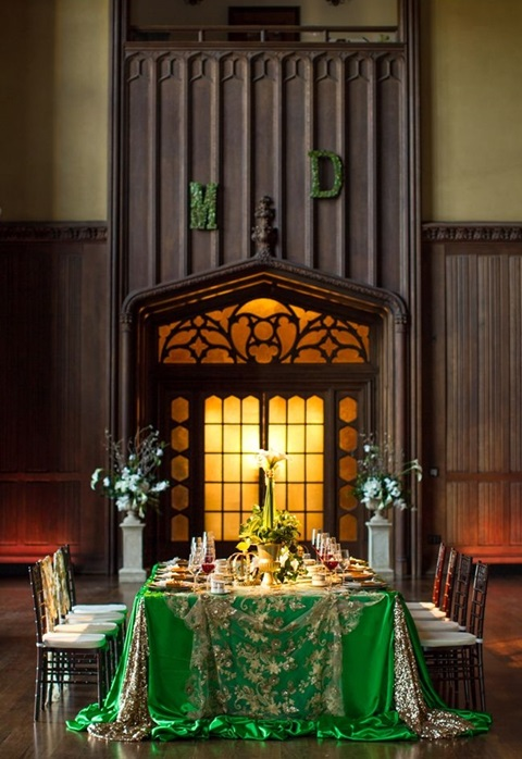 green and gold wedding color ideas 28