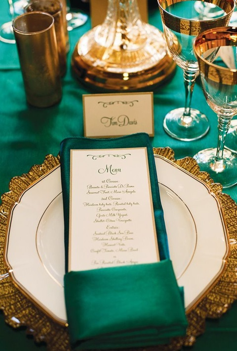 green and gold wedding color ideas 30