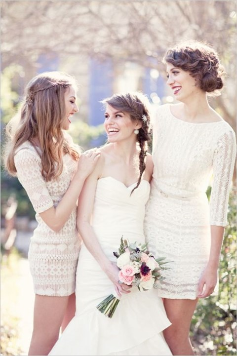 46 Beautiful Lace Bridesmaids' Dresses