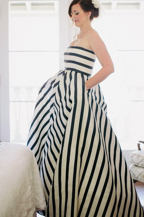 51 super elegant black and white wedding dresses for Wedding dress with stripes