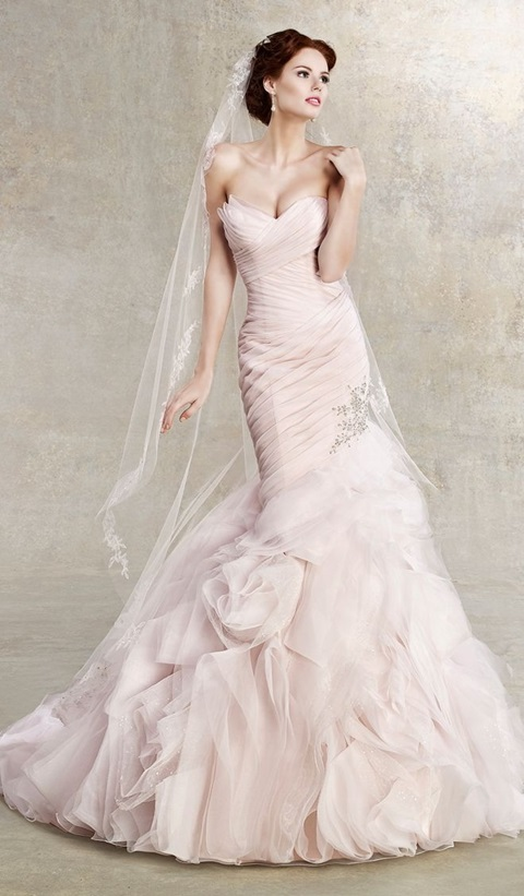 48 Romantic Pastel Wedding Gowns | HappyWedd.com