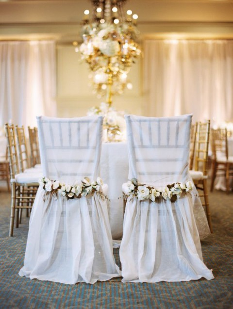 74 wedding chair decor ideas with floral swags and posies. Black Bedroom Furniture Sets. Home Design Ideas