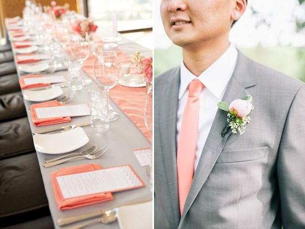 grey and coral wedding colors 15