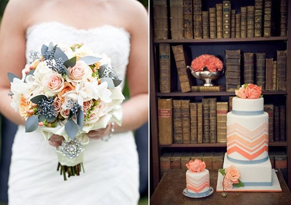 grey and coral wedding colors 16