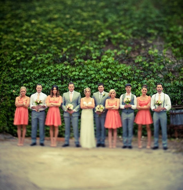 grey and coral wedding colors 22