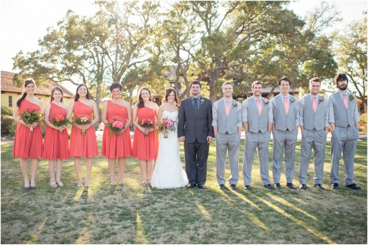 grey and coral wedding colors 29