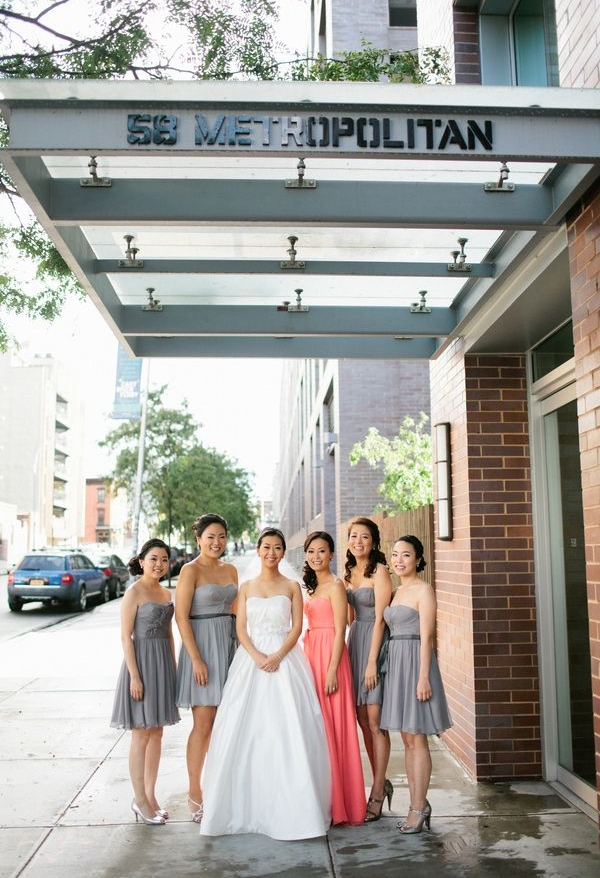 gray and coral wedding color ideas 30