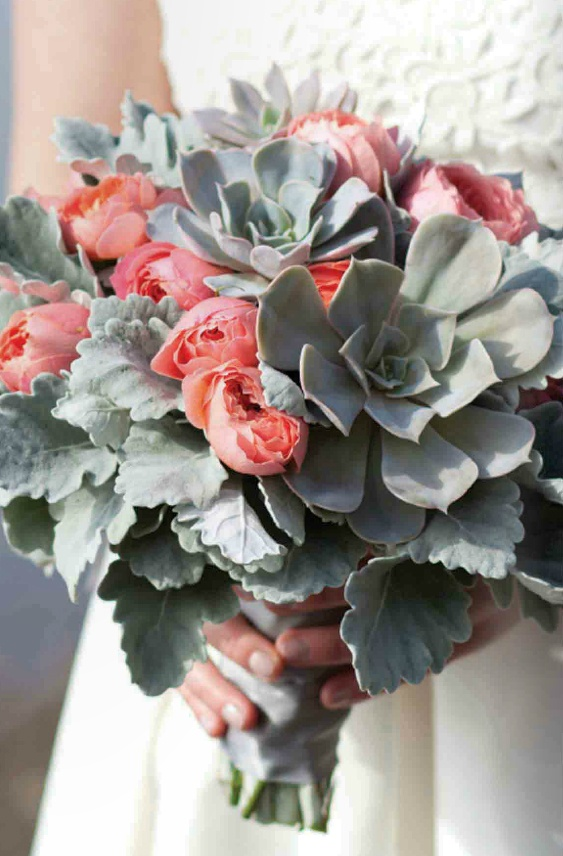 gray and coral wedding color ideas 35