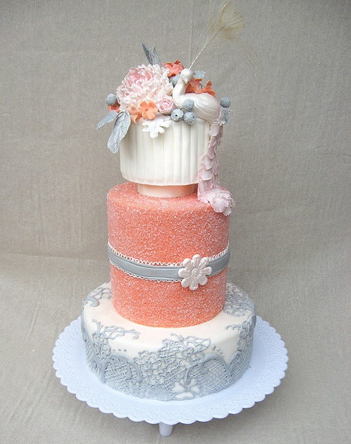 gray and coral wedding color ideas 37