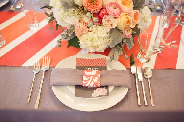 gray and coral wedding color ideas 43