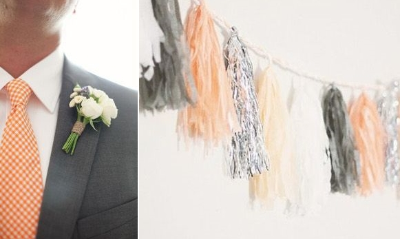 grey and coral wedding colors 11