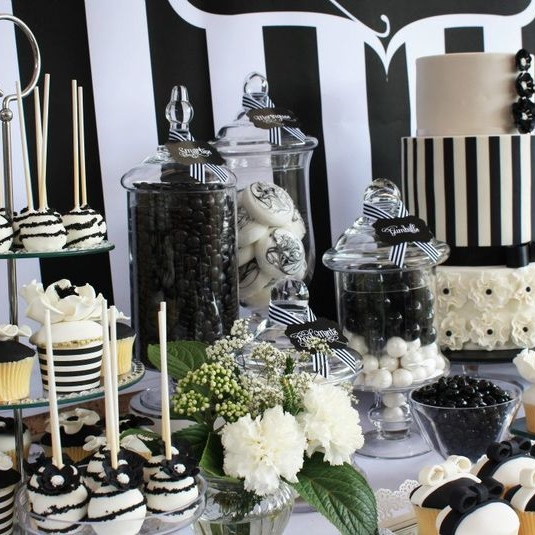 56 Elegant Black And White Wedding Dessert Tables