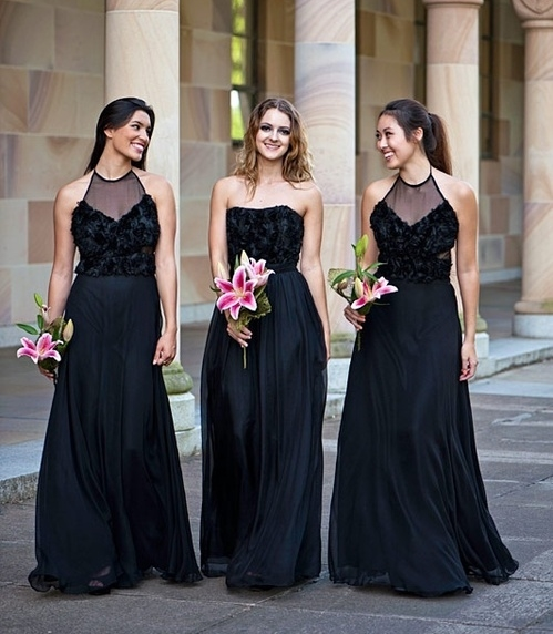 62 Stylish Black Bridesmaids' Dresses