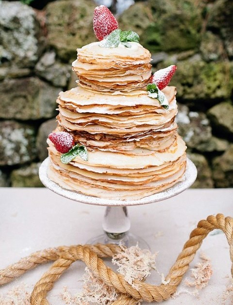 28 Yummy Pancake Wedding Cakes