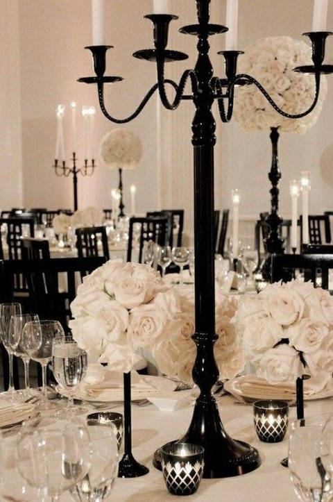 Black and White Wedding Reception, Halloween Wedding Reception