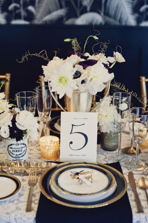 55 Elegant Navy And Gold Wedding Ideas  HappyWedd.com