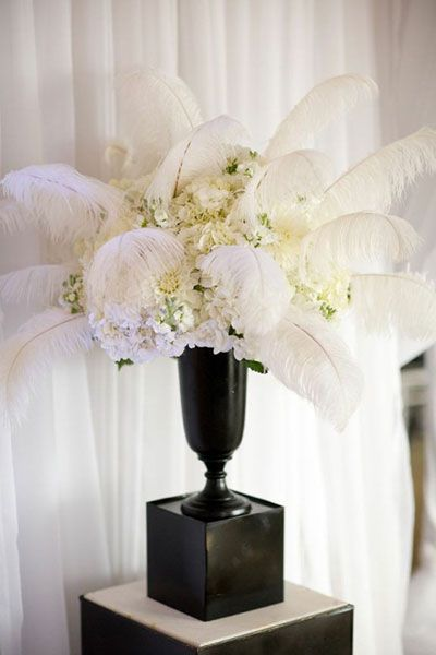 Chic feather wedding ideas happywedd