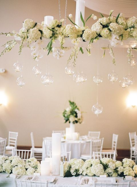 Flowers Hanging Overhead Wedding Reception: 37 Ideas