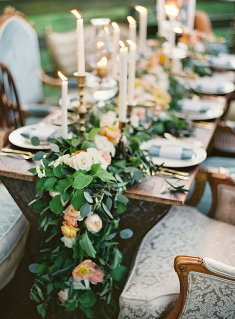 90 Breathtaking Green And Flower Wedding Table Runners