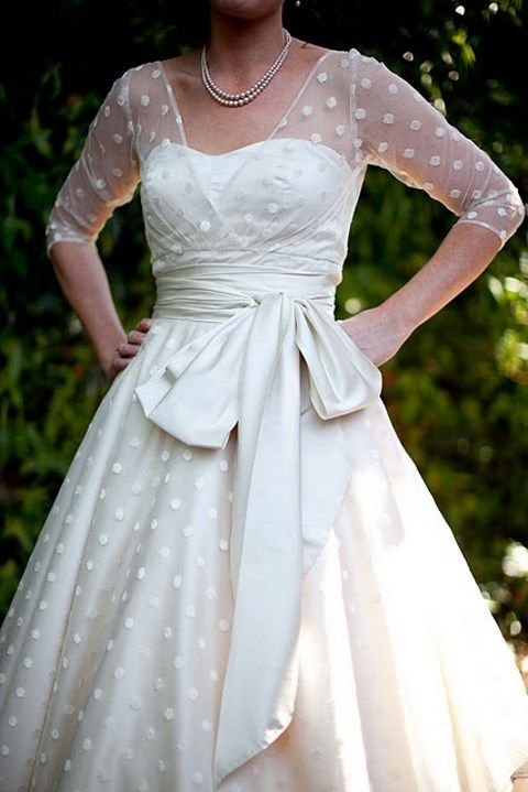 tea length wedding dresses with pokadots
