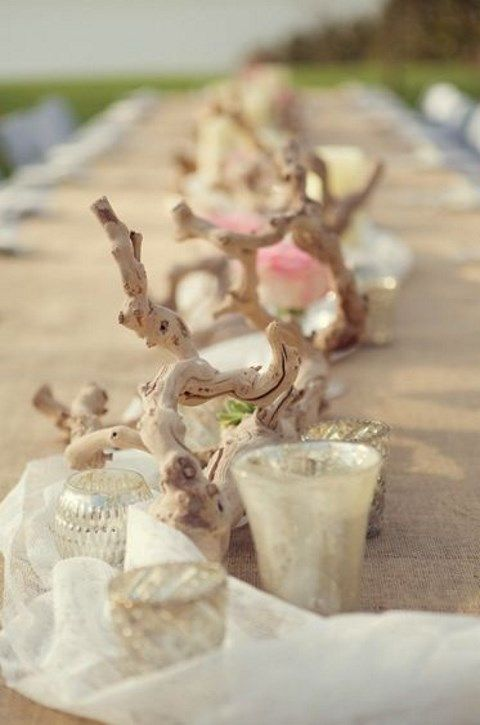 64 driftwood wedding decor ideas to rock for Deco table mariage bois flotte