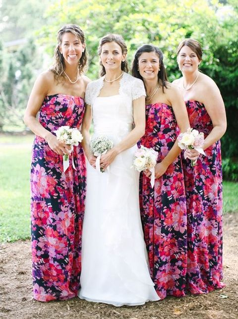 33 Floral Printed Bridesmaid Dresses | HappyWedd.com
