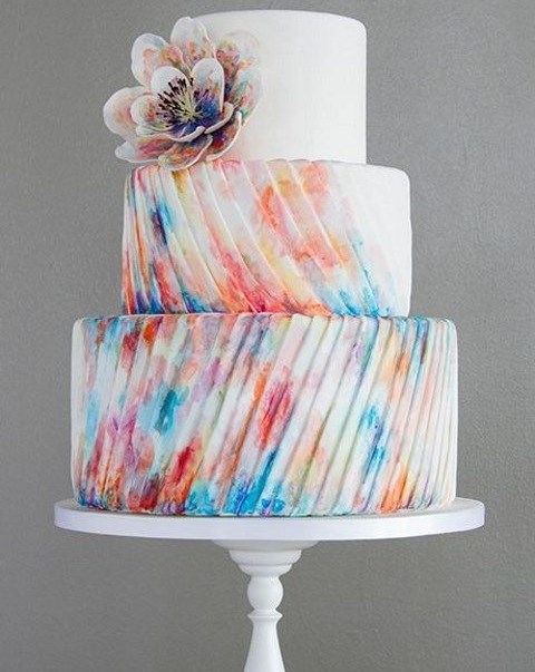 53 Watercolor Wedding Cakes That Really Inspire