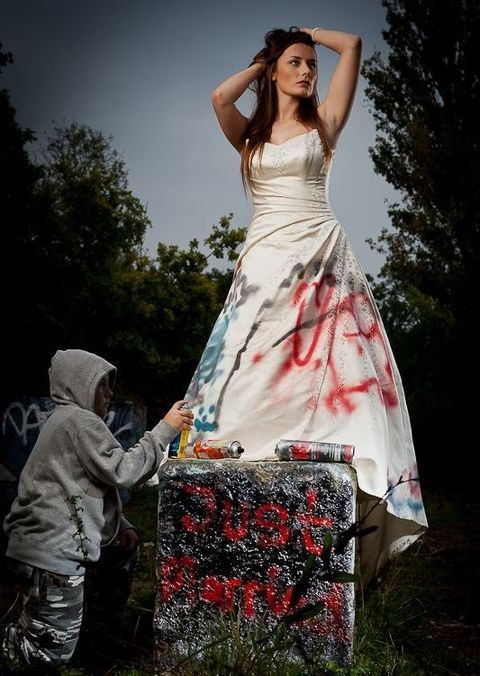 Trash the wedding dress shoot, Feltham, UK