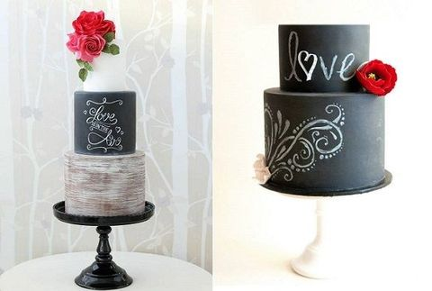 chalkboard cakes by Zoe Clark Cakes left, It's A Cake Thing by Jhoanee right