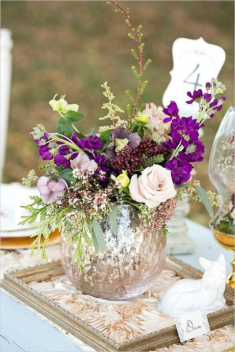 Purple vintage wedding centerpieces pixshark