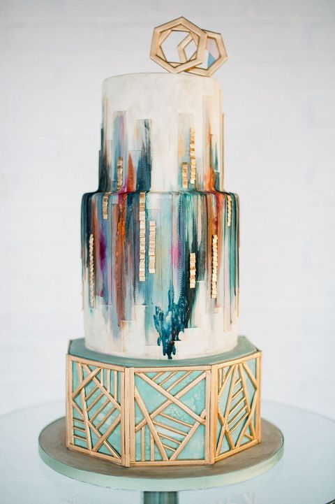 45 Breathtaking Art Deco Wedding Cakes HappyWedd.com