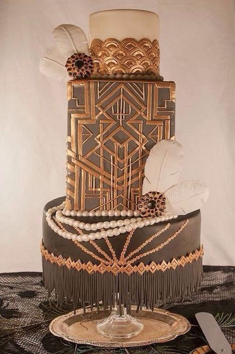 Art Deco Wedding Cake Black And Gold : 45 Breathtaking Art Deco Wedding Cakes HappyWedd.com