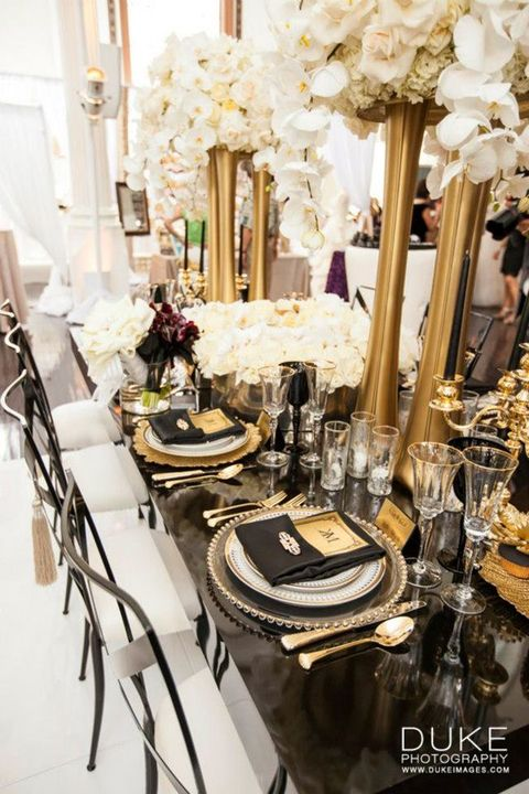 27 chic art deco wedding table settings for Art deco wedding decoration ideas