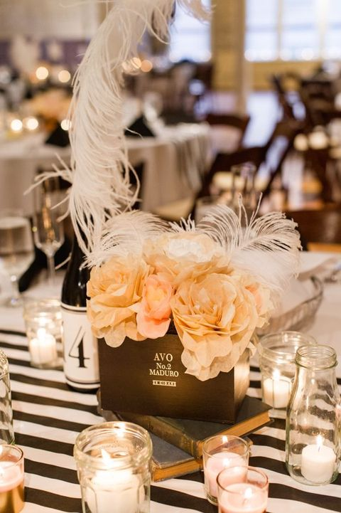 37 Art Deco Wedding Centerpieces That Inspire | HappyWedd.com