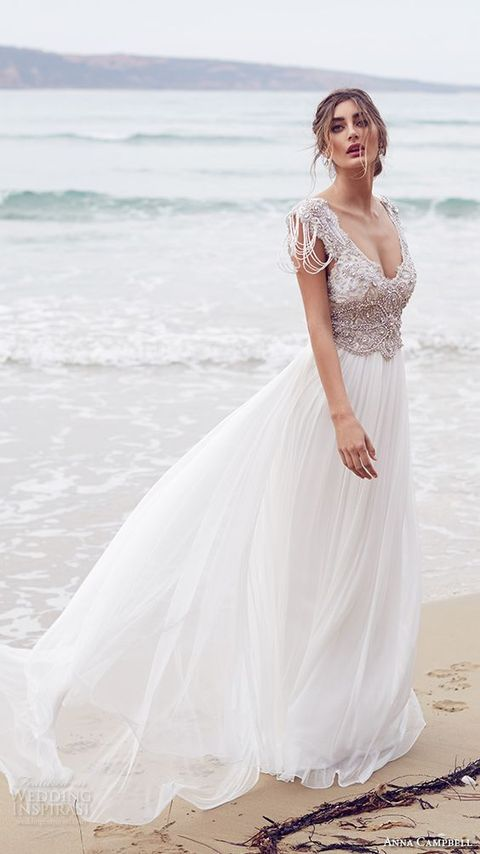 60 romantic and airy flowy wedding dresses for Ocean themed wedding dress