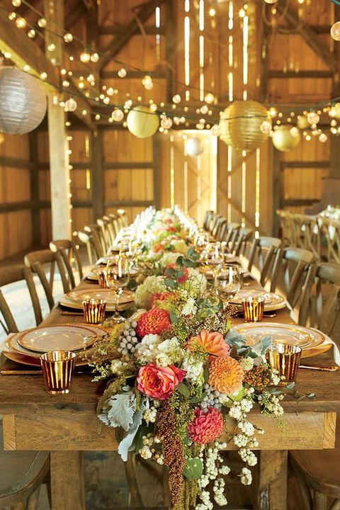 61 cozy and charming barn wedding table settings for Wedding table decoration ideas