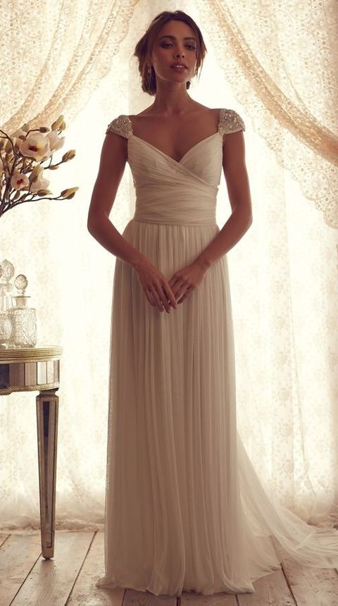 30 flowing grecian styled wedding dresses for Grecian goddess wedding dresses