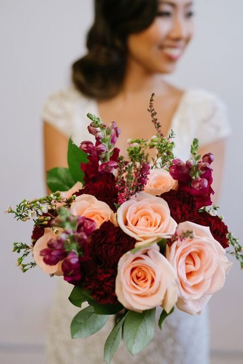 Wedding Bouquet Burgundy : Refined burgundy and blush wedding ideas happywedd