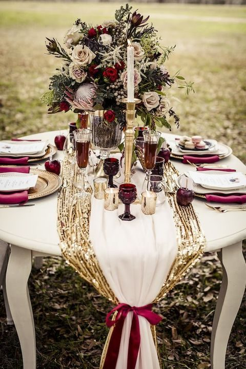 Elegant burgundy and gold wedding ideas happywedd