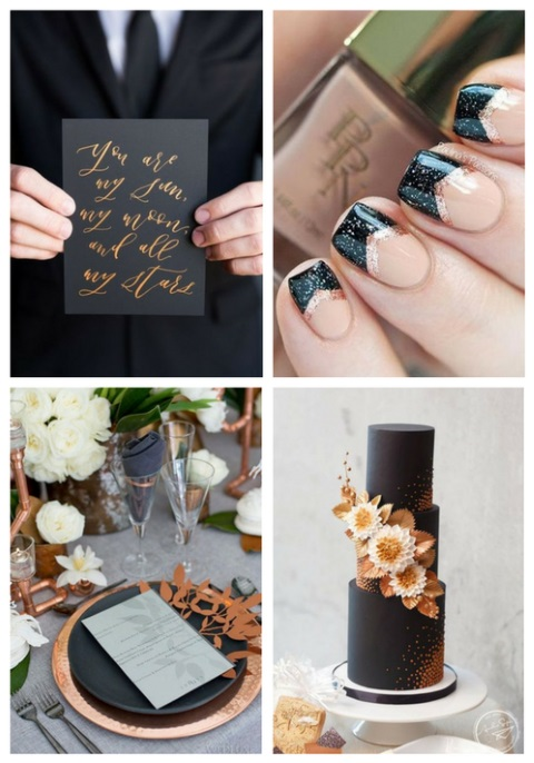 Refined Copper And Black Wedding Decor Ideas Happywedd Com