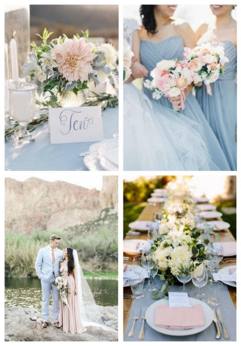 38 Dusty Blue And Blush Wedding Ideas | HappyWedd.com