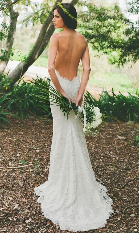 backless spaghetti strap wedding dress