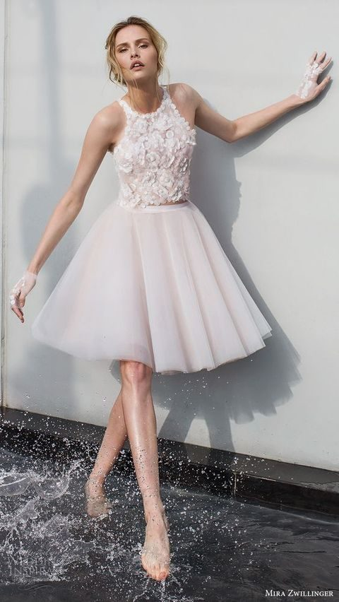 blush sleeveless jewel neck short wedding dress