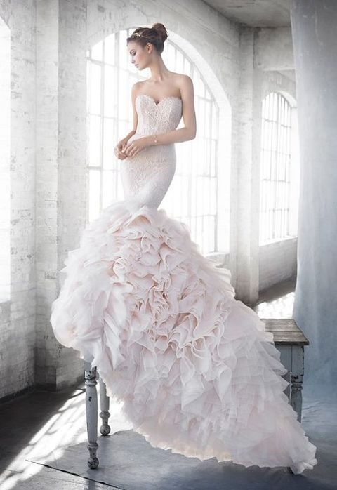 blush sweetheart neckline beaded ruffle mermaid gown