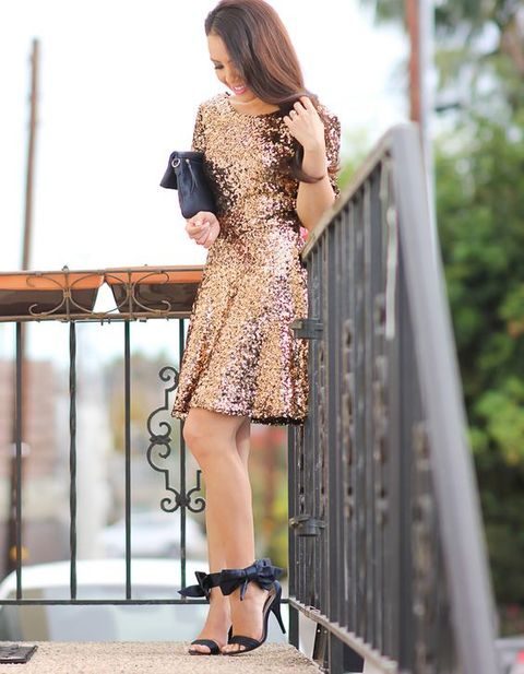 copper sequin dress over the knee and bow strap heels